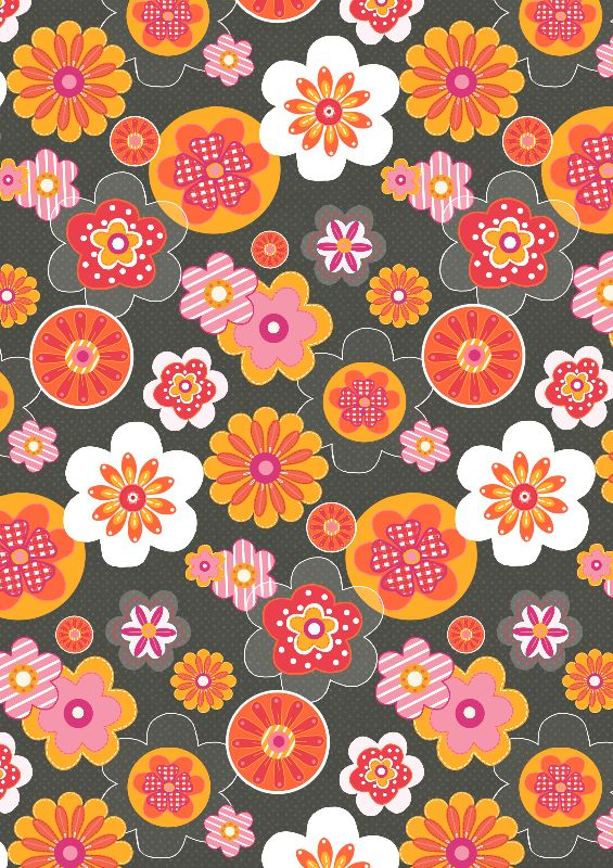 Bright Flowers on Grey