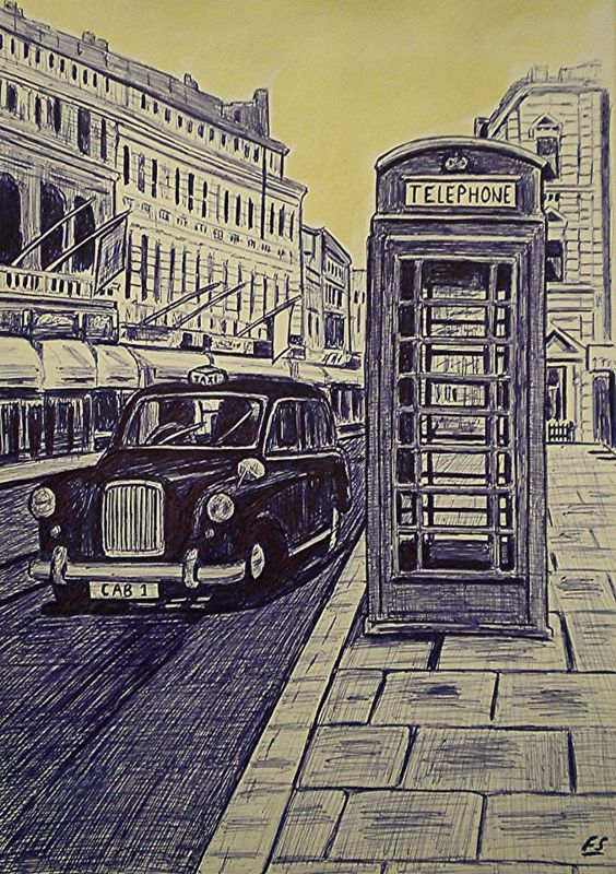 A Taxi and Telephone Box