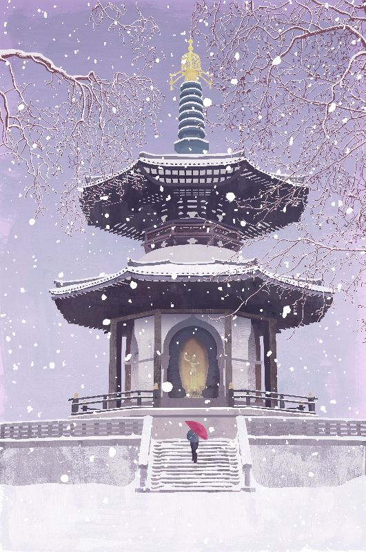 Peace Pagoda in the Snow