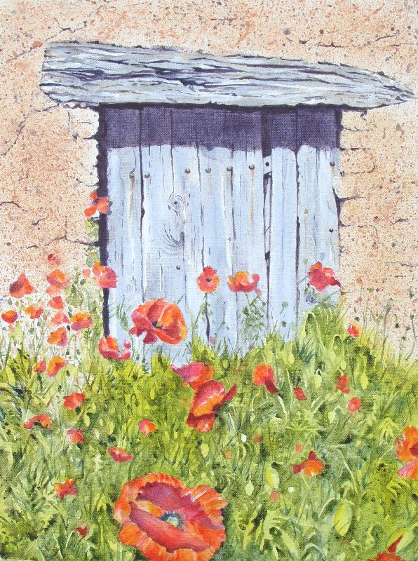 Old Barn Door and Poppies