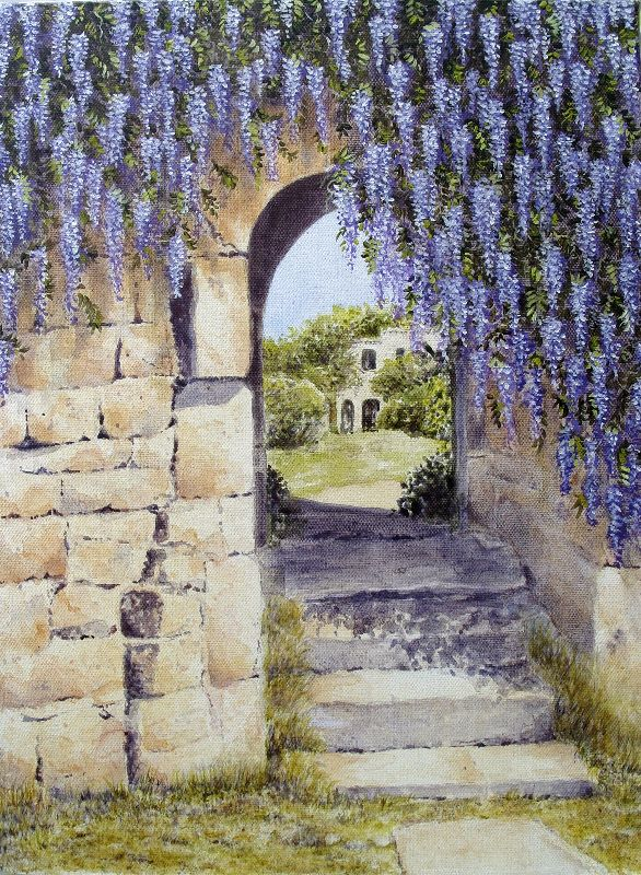 Stone arch with wisteria