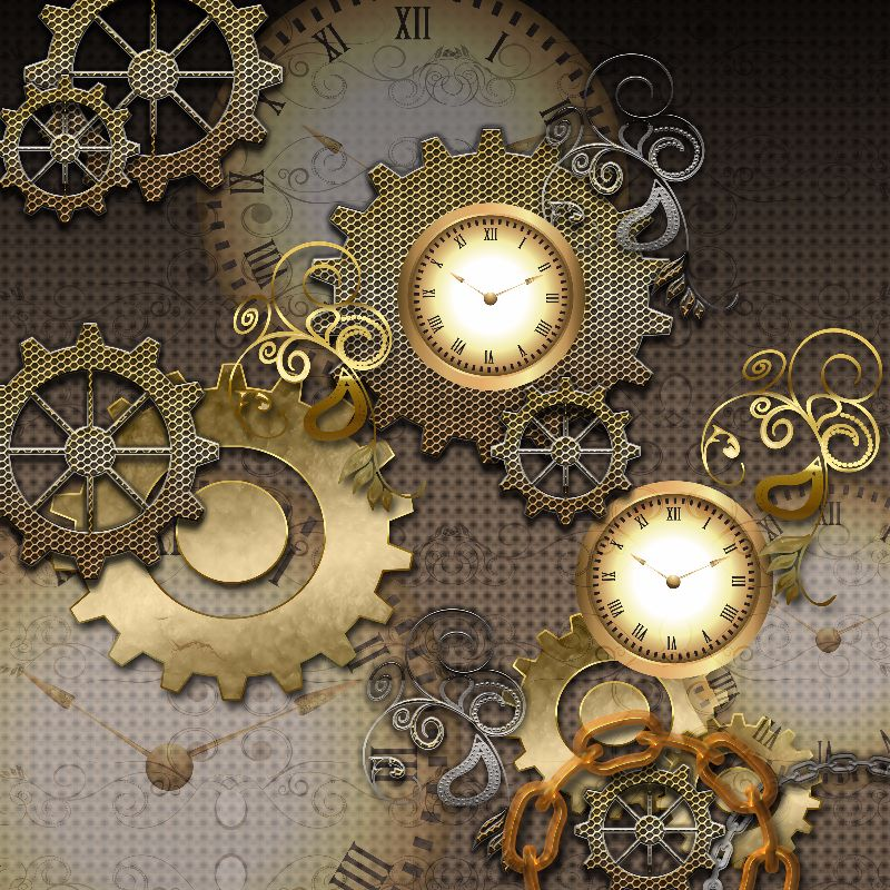 Steampunk with clocks and