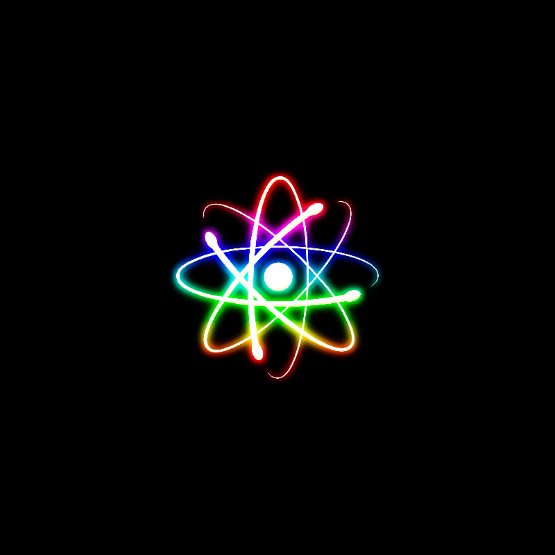 Colorful Glowing Atom