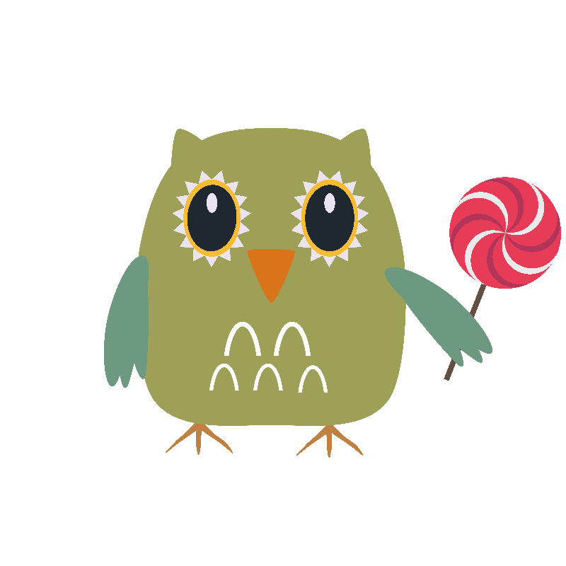Owl with lollipop