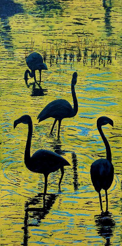 Flamingos-at-sunset