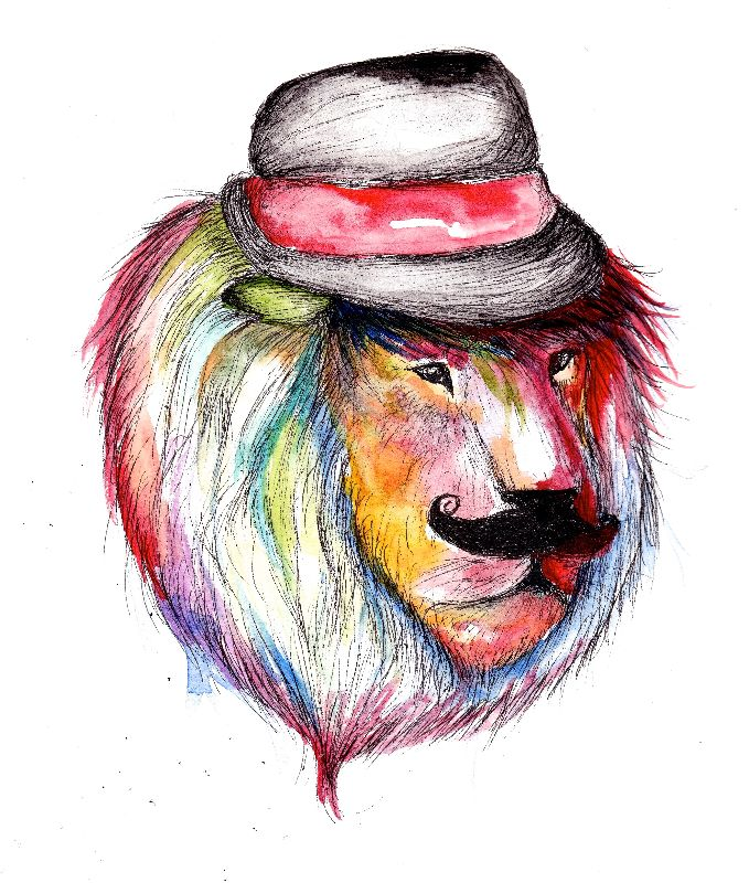 Stylish Moustache Lion