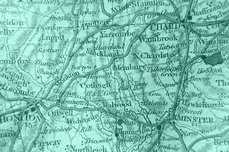 Teal antique map
