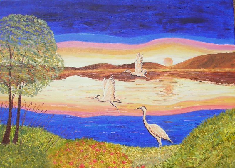 Herons At Sunset