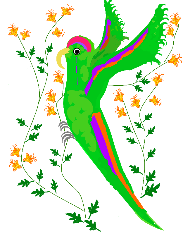 Parrot and flowers