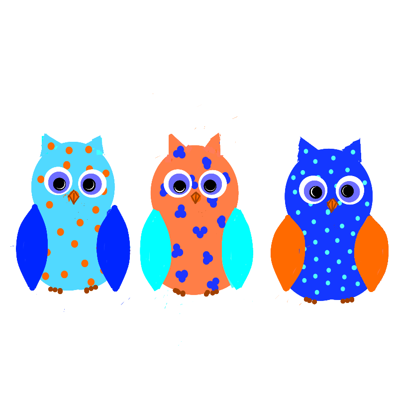 THree colourful cute owls