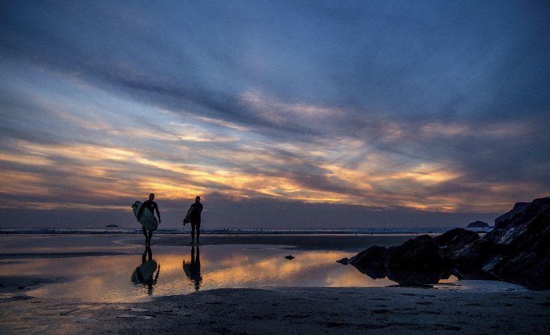 Sunset Surfing Polzeath