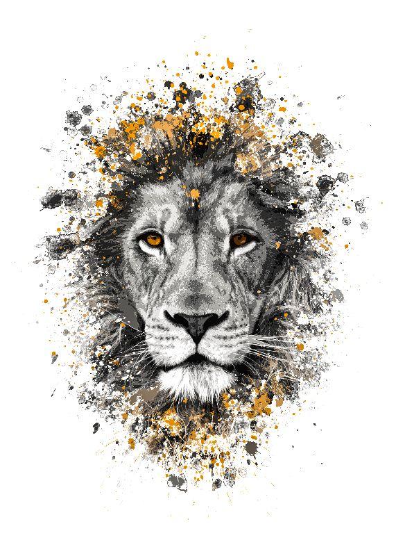 Lion with orange eyes