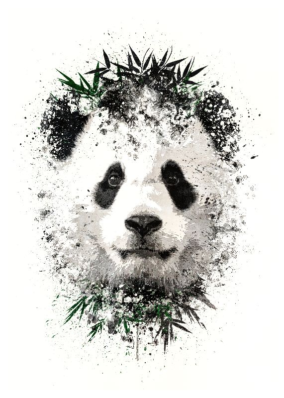 Panda with green bamboo