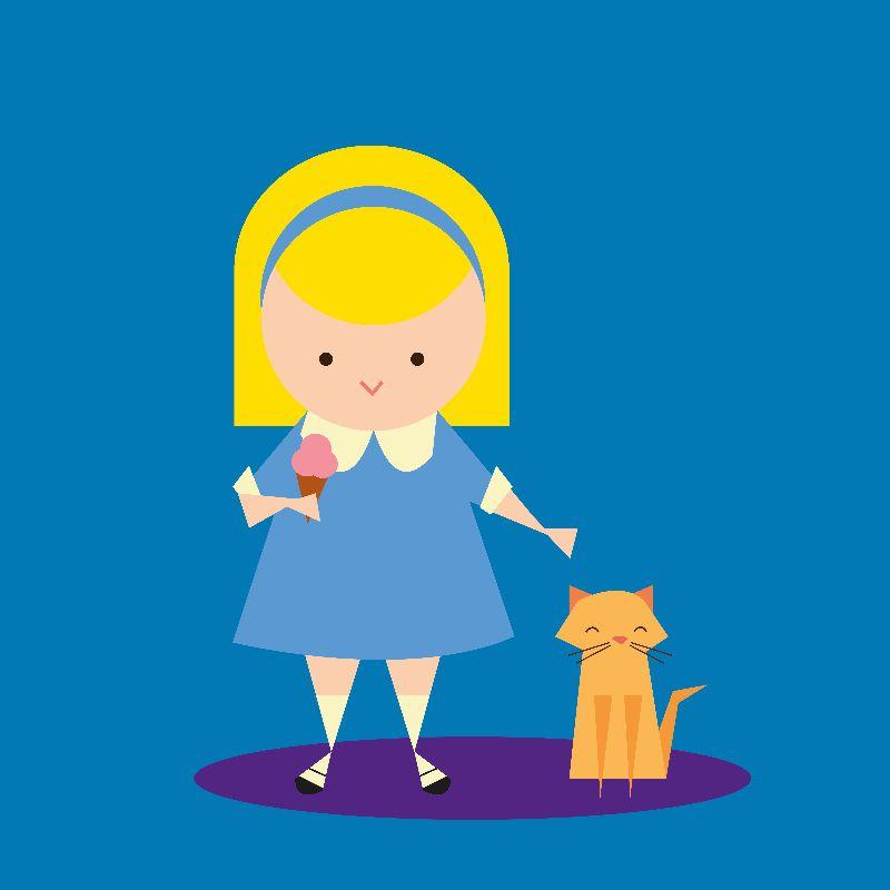 Girl Cat and Ice Cream
