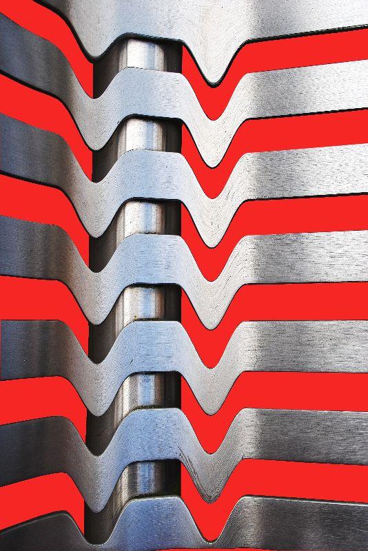 Steel metal On Red