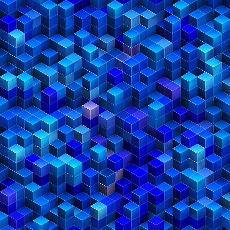 Blue stacked 3D cubes