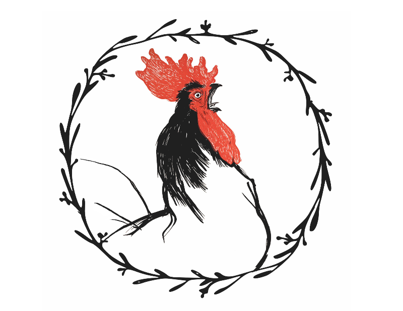 Vintage rooster crowing