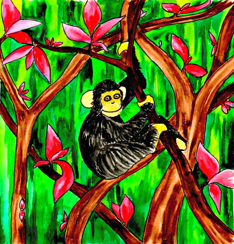 Watercolor cute monkey