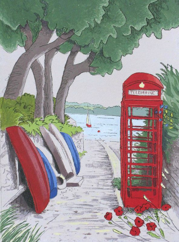 red phone box devon
