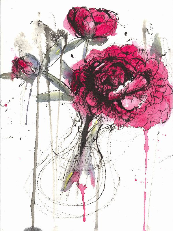 stick drawing peonies