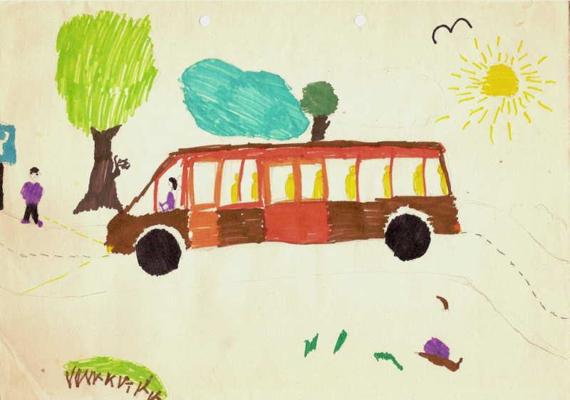 bus drawing by child