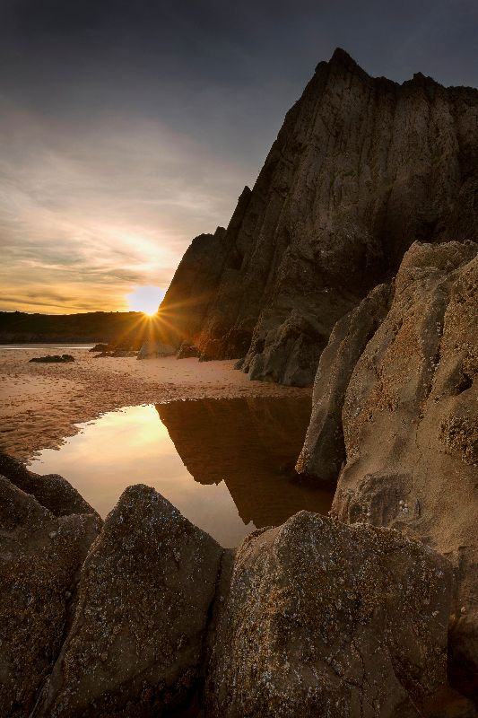Three Cliffs Bay sunset