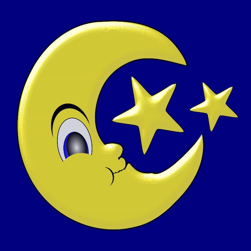 Smiling Moon Yellow Stars