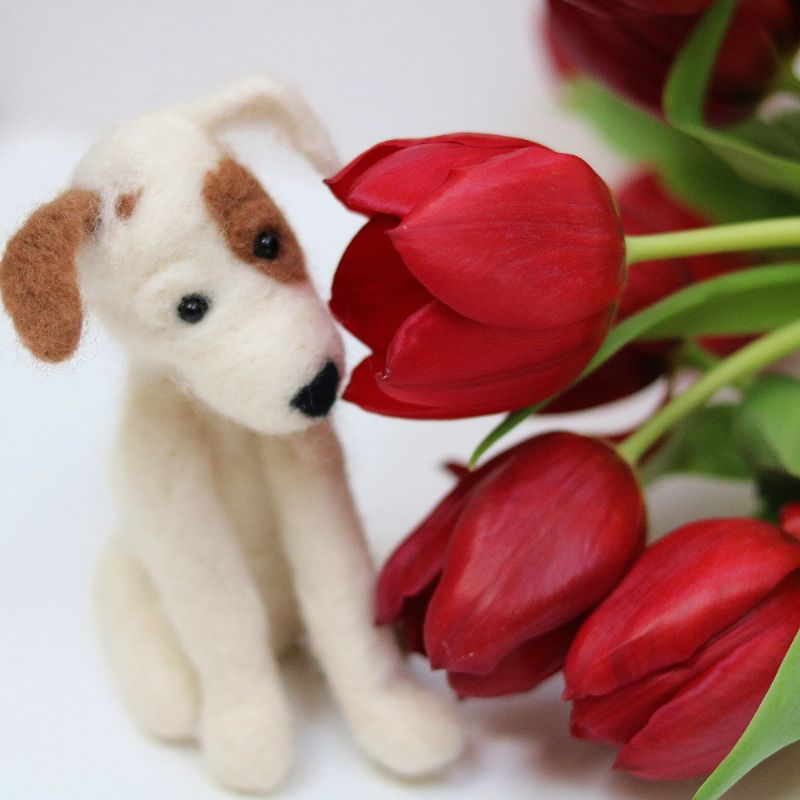 Jack Russell With Tulips
