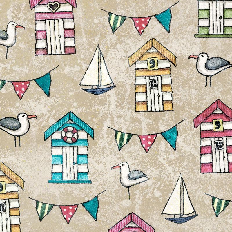 Beach Huts and Gulls