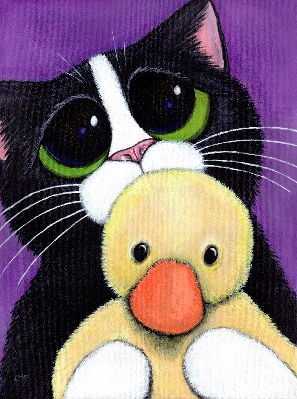 Scared Cat and Toy Duck