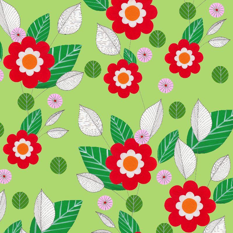 Retro Flowers green