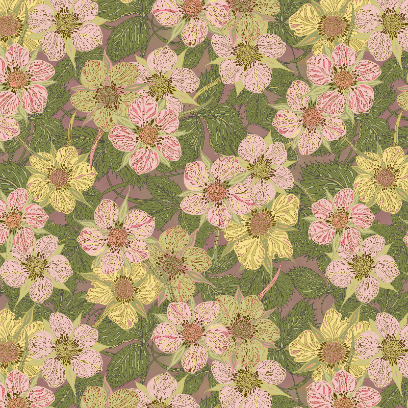 Strawberry Flowers pale