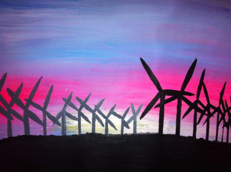 Abstract neon Windfarm