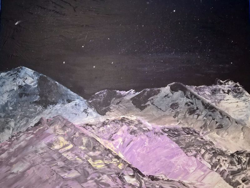 Mountain at night