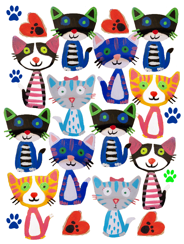 folk art cats pattern