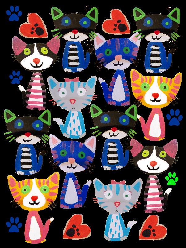 folk art cats pattern