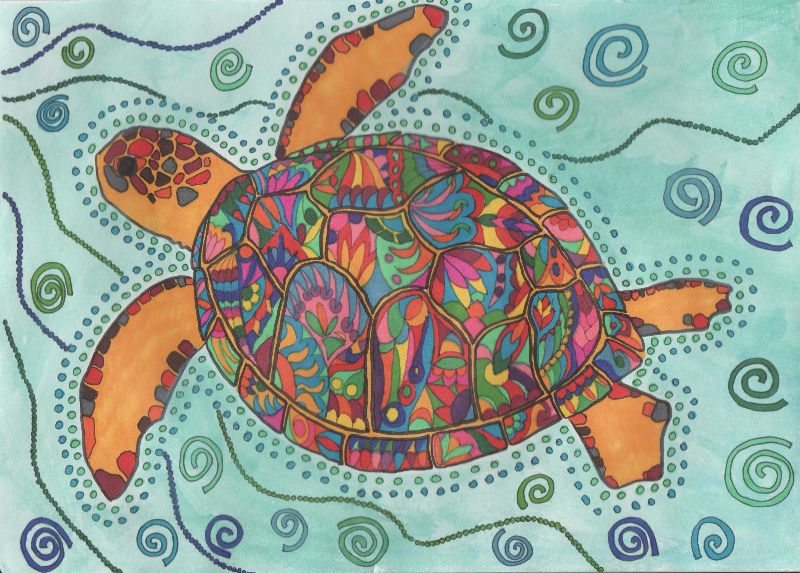 Colourful peace turtle