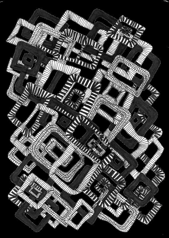 Doodle art black square