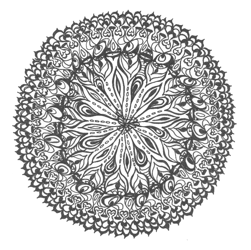 Mandala drawing bw