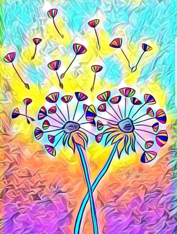 Neon dandelions