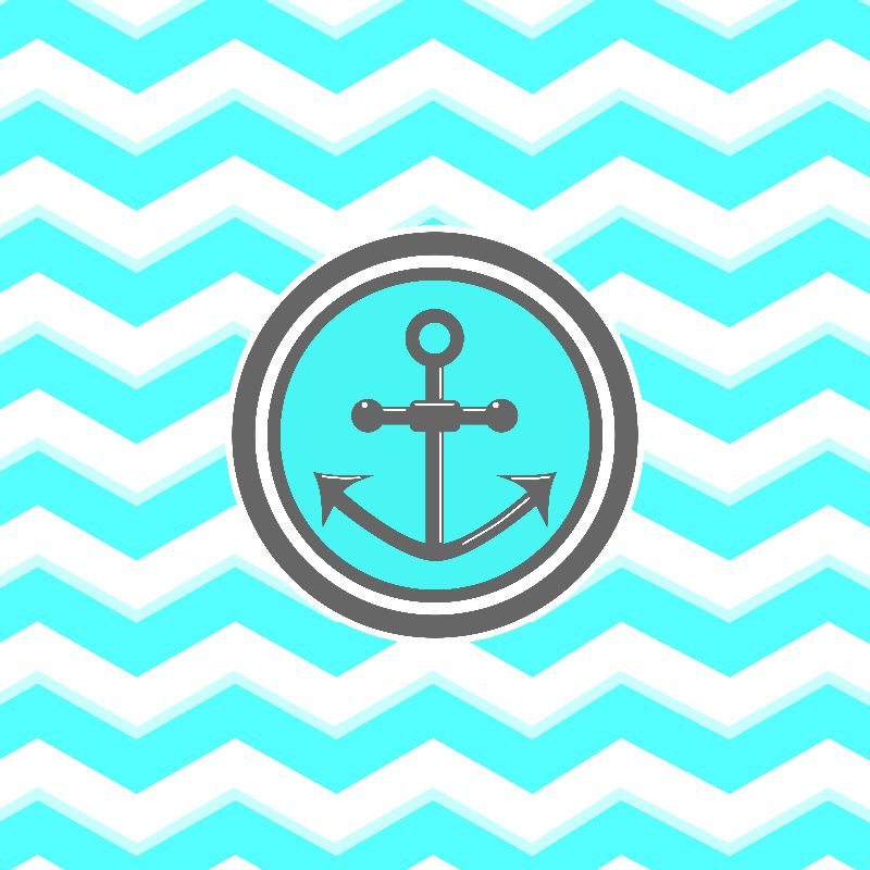 Cute Blue Chevron Anchor