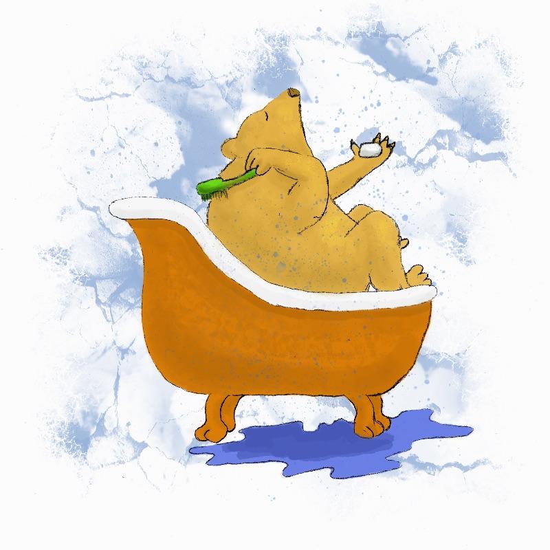 Bear in a Bubble Bath