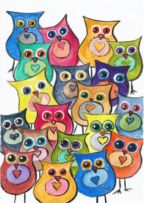 A lot of Owls Birds