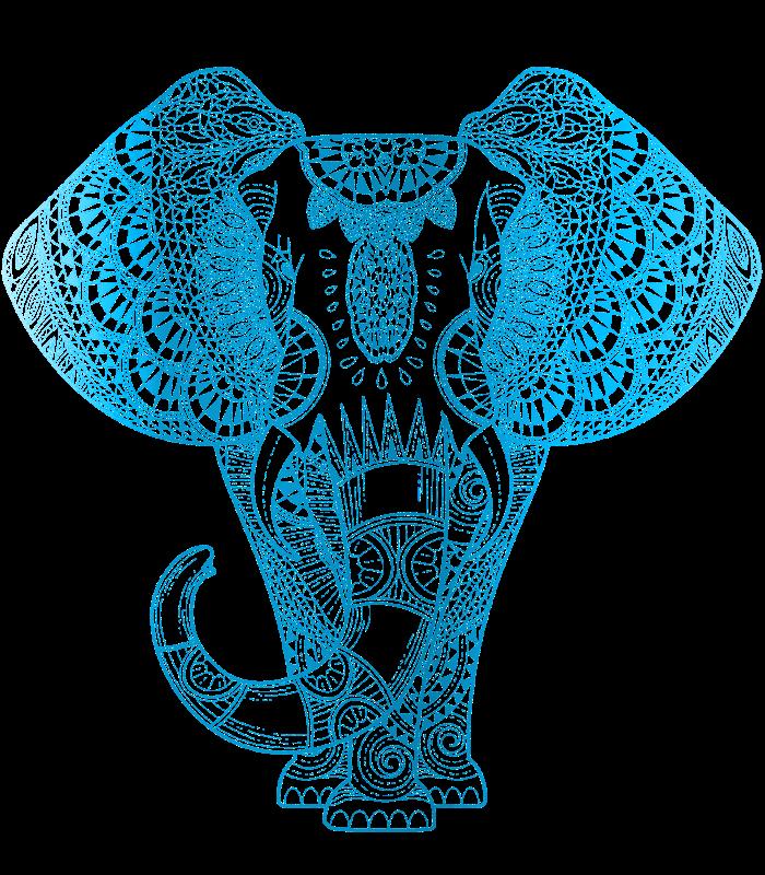 Teal Blue Elephant