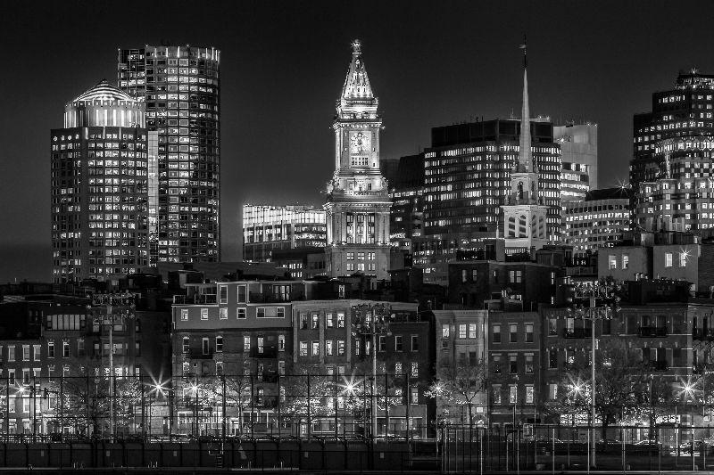 BOSTON Night Skyline bw