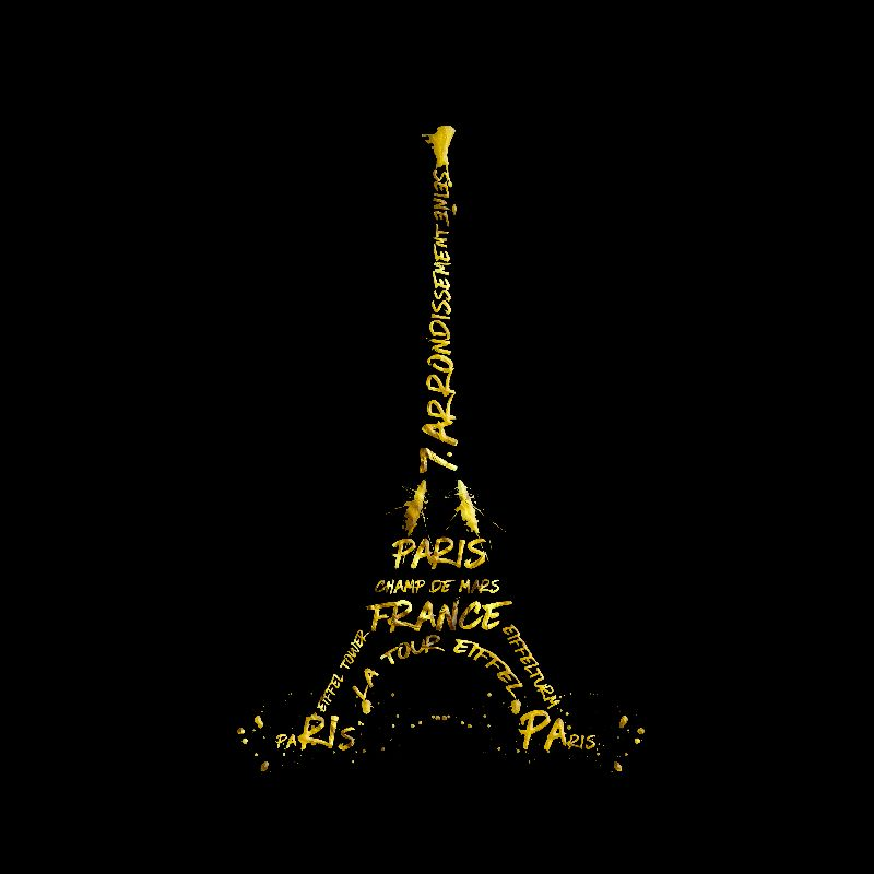 Eiffel Tower black  gold