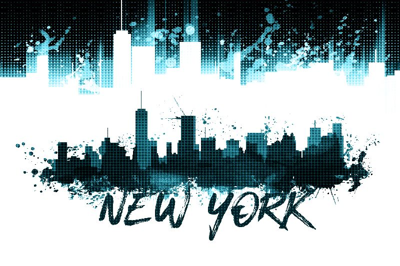 NYC Skyline Splashes cyan