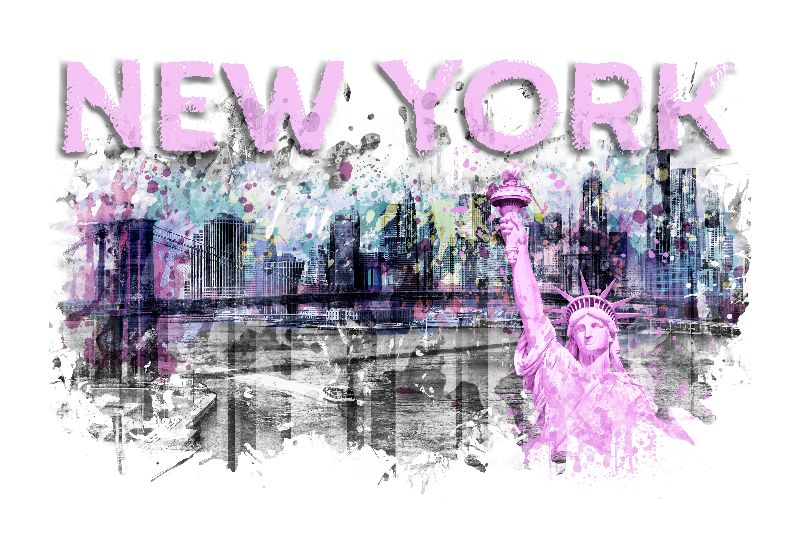 NYC Skyline Splashes pink