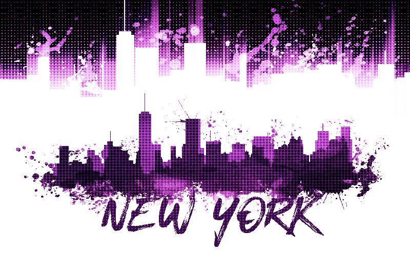 NYC Skyline Splashes pink