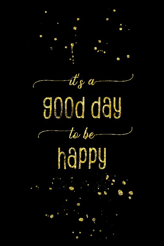 TEXT ART GOLD Be Happy